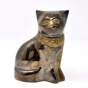 Vintage Accents - Vintage Brass Cat Figurine Made in India